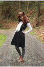 Boots-frilly-dress-patterned-leggings-lace-cardigan-cardigan-skirt