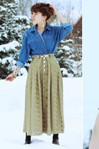 olive green forest vintage skirt - blue denim vintage shirt