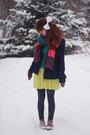 Boots-zigzag-dress-coat-sweater-floral-leggings-rainbow-scarf