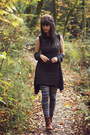 Gray-cardigan-bronze-boots-black-striped-dress