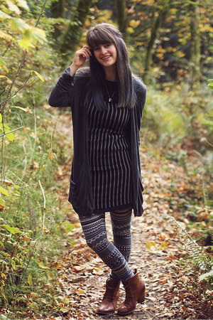 gray cardigan - bronze boots - black striped dress