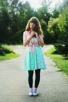 aquamarine ice cream dress - peach shirt - dark green tights