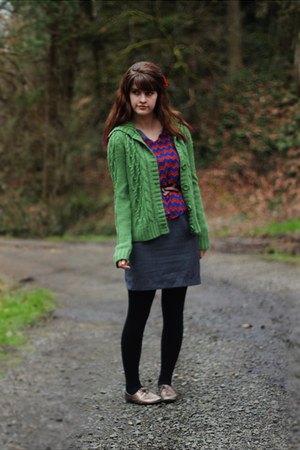 dark green sweater - heather gray dress - blue zigzag shirt
