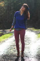 camel boots - coral jeans - navy sweater - purple shirt