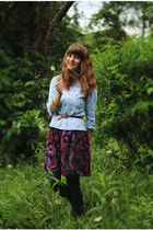 magenta lace dress - teal floral shirt - dark gray tights