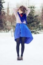 blue asymmetrical handmade skirt - light pink striped shirt