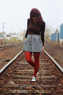 Carrot-orange-striped-sweater-ruby-red-tights-periwinkle-striped-skirt