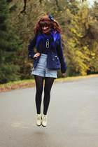 navy dress - eggshell boots - navy peacoat jacket - black geometric tights
