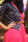 Salmon-dress-black-lace-cardigan-carrot-orange-belt-yellow-sandals