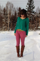 teal sweater - dark brown boots - camel leopard print shirt - maroon pants