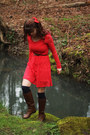 Sky-blue-rain-jacket-dark-brown-boots-red-lace-dress-navy-socks