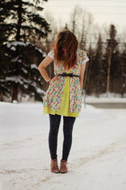coral boots - yellow zigzag dress - hot pink patterned dress