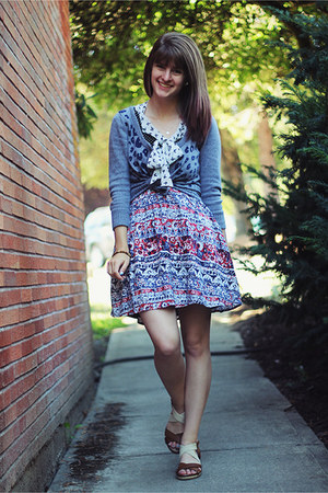 maroon floral skirt - black polka dot dress - ivory bird patterned shirt