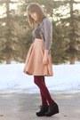 Coral-mini-polka-dot-skirt-puce-jeweled-shirt-maroon-tights