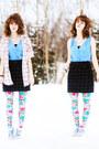 Sky-blue-dress-beige-striped-shirt-hot-pink-floral-tights