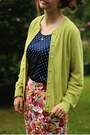 Navy-polka-dot-shirt-hot-pink-floral-skirt-chartreuse-cardigan
