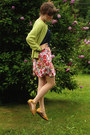 Navy-polka-dot-shirt-chartreuse-cardigan-hot-pink-floral-skirt