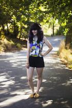 yellow belt - deep purple dress - black shorts - yellow sandals