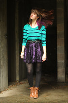 deep purple metallic skirt - bronze boots - aquamarine striped shirt