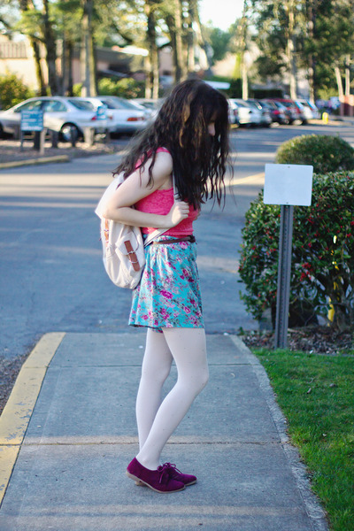 hot pink lace dress - light pink tights - sky blue floral shorts