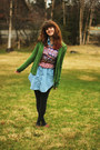 Sky-blue-denim-dress-dark-green-sweater-maroon-geometric-shirt-gray-tights