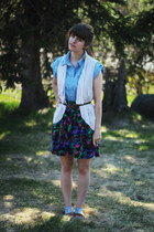sky blue denim dress - eggshell cardigan - deep purple skirt