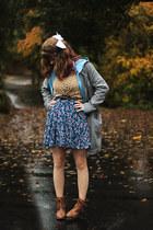 camel boots - blue floral dress - mustard leopard print shirt
