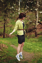 black polka dot dress - chartreuse cardigan - tawny belt - light blue sneakers