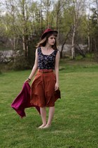 bronze skirt - purple floral dress - maroon hat - magenta cardigan