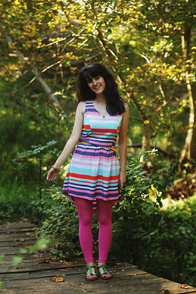 purple dress - pink leggings - yellow belt - green sandals