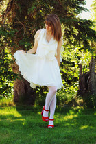 white Sugarlips dress - white tights - hot pink heels