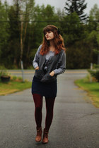 silver love shirt - bronze boots - navy dress - crimson tights