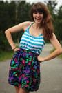 Turquoise-blue-striped-shirt-deep-purple-skirt