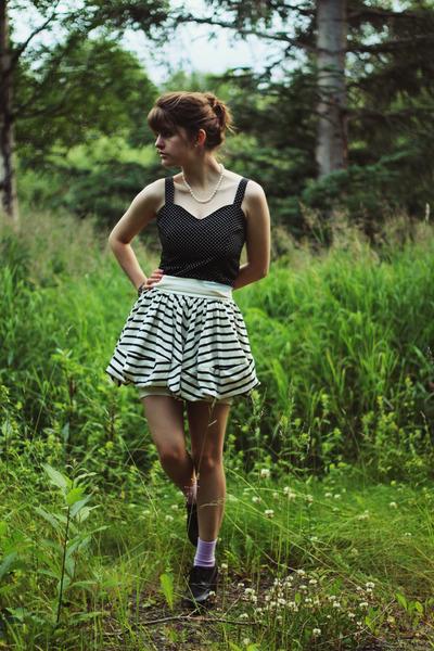 white striped asos skirt - black polka dot dress - light purple socks
