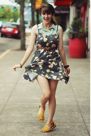 polka dot shirt - floral dress - sandals