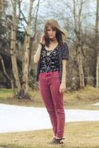 purple floral dress - navy leopard print cardigan - hot pink belt - coral pants