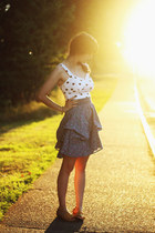 white polka dot top - light purple floral skirt - yellow sandals