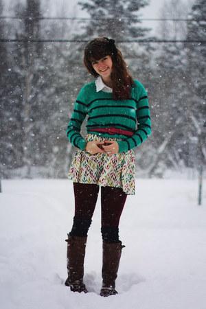 yellow patterned dress - green striped sweater - ivory lace shirt