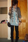 Blue-river-island-dress-white-miss-selfridge-scarf-gray-new-look-jacket