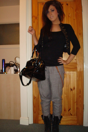 silver River Island pants - black garage boots - black H&M jacket