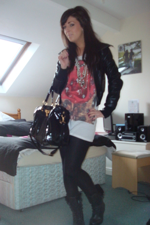 black new look jacket - black garage boots - white All Saints t-shirt - black Mi