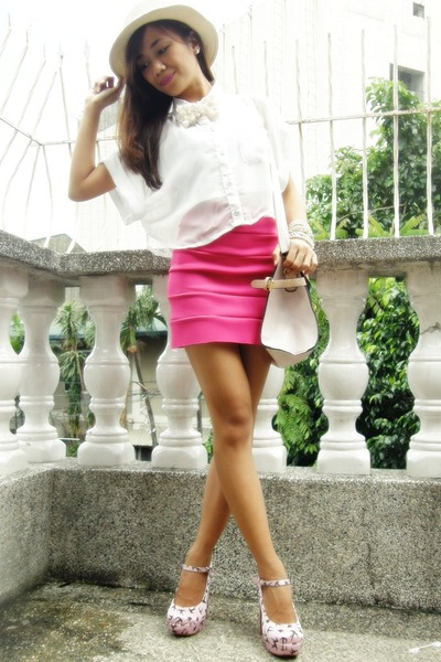 hot pink bandage skirt
