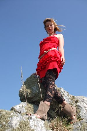 red dress - black voyelles leggings - beige La Redoute shoes