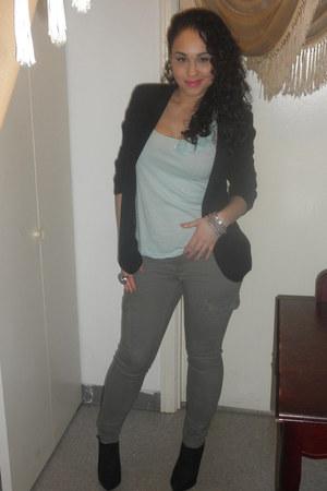 Forever 21 boots - Marshalls jeans - Forever 21 blazer - Forever 21 blouse