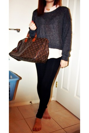 dark brown Louis Vuitton bag - charcoal gray H&M sweater