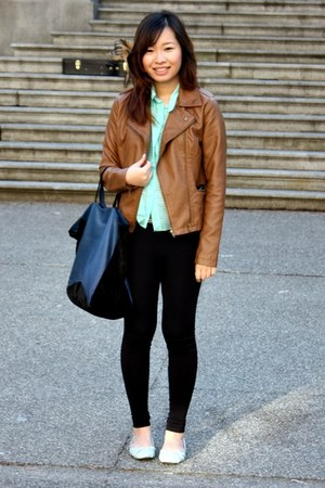 brown Forever 21 jacket - navy Zara bag