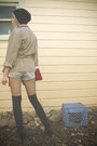 Black-combat-thrifted-boots-beige-cargo-thrifted-jacket