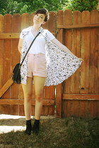black voodoo thrifted vest - white f21 shirt - light pink Bill Blass shorts