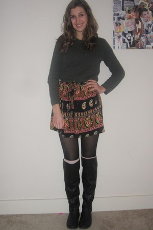 black mini skirt papaya skirt - black JustFab boots