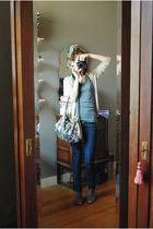 beige Massimo Dutti cardigan - gray zebra top - blue new look jeans - silver Acc